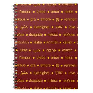 Love international words spiral notebook
