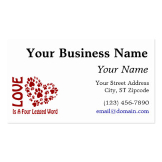 Love is a 4-letter word business card template