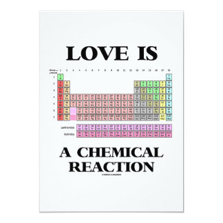 Love Is A Chemical Reaction (Periodic Table) 13 Cm X 18 Cm Invitation Card