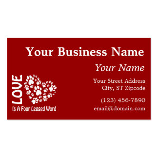 Love Is A Four Legged Word Pack Of Standard Business Cards