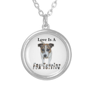 Love Is A Fox Terrier, Silver Plated Necklace
