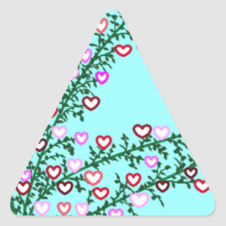Love is a growing thing...and every hdeart a kiss triangle sticker