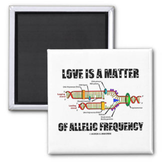 Love Is A Matter Of Allelic Frequency (DNA) Square Magnet