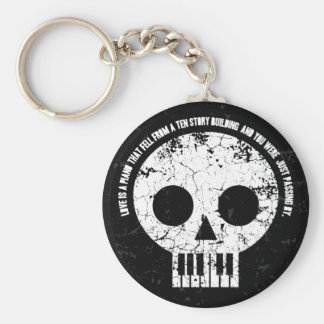 Love is a Piano Basic Round Button Key Ring