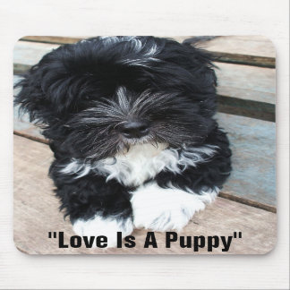 """Love Is A Puppy"" mousepad by Zoltan Buday"