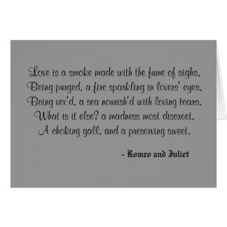 Love is a smoke made with the fume of sighs,Bei... Note Card