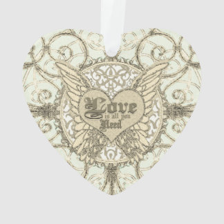 Love is All You Need Angel Wings and Heart Ornament