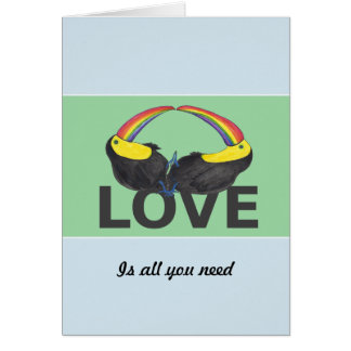 Love is all you need - cute toucans card
