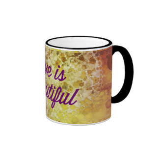 Love is Beautiful Abstract Colorful Heart Ringer Mug