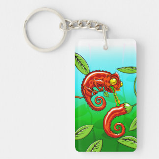 love is blind - chameleon fail Double-Sided rectangular acrylic key ring
