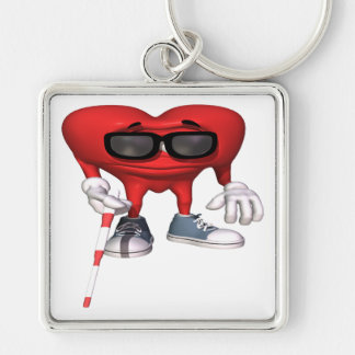 Love Is Blind Silver-Colored Square Key Ring