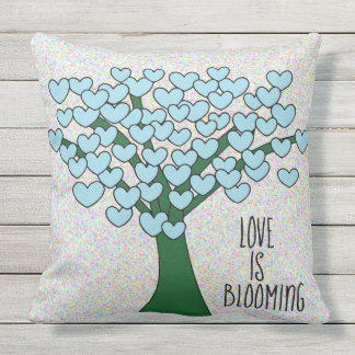 LOVE IS BLOOMING Cute Blue Hearts Tree Outdoor Cushion