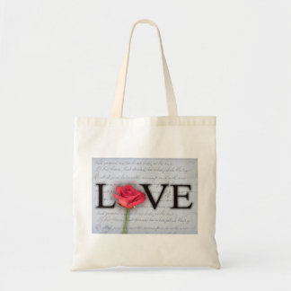 Love is blue ... with a rose budget tote bag
