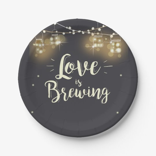 Love is brewing Paper Plates Wedding rehearsal bbq