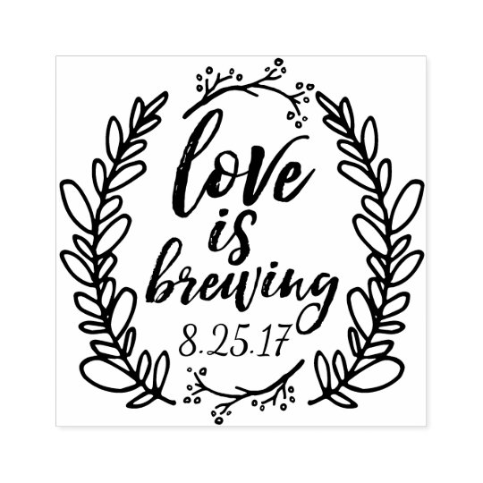 Love is Brewing Wedding Favour Rubber Stamp