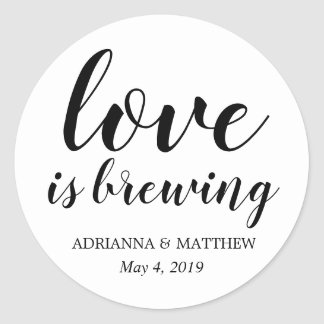 Love Is Brewing Whimsical Wedding Favour Classic Round Sticker