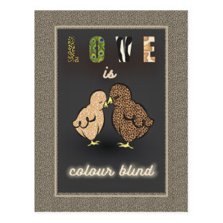 Love is color blind, Birdy Greeting card, Wedding Postcard