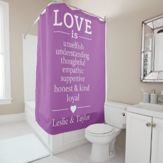 Love Is … custom names & color shower curtain