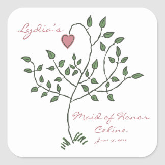 Love is deeply rooted Maid of Hono Square Stickers