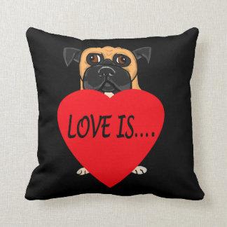 """Love Is"" dog custom pillows"
