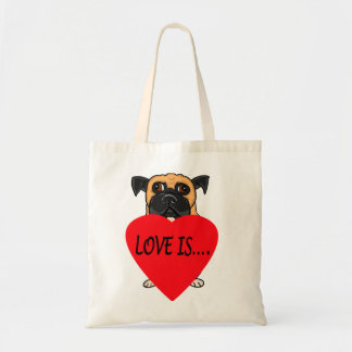 """Love Is"" dog custom tote bags"