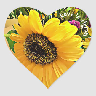 LOVE IS ETERNAL, heart shaped sunflower stickers