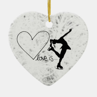 Love is Figure Skating, Girl & Heart NAME, YEAR Ceramic Heart Decoration