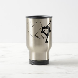 Love is Figure Skating, Girl Skater & Heart Coffee Mugs