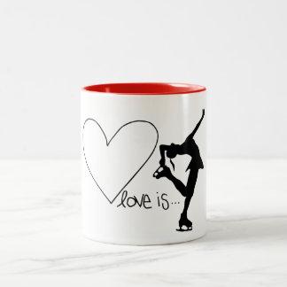 Love is Figure Skating, Girl Skater & Heart/RED Two-Tone Mug