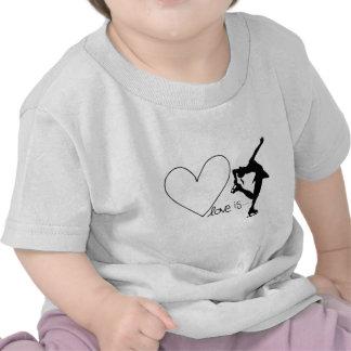 Love is Figure Skating, Girl Skater & Heart T-shirts