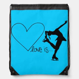 Love is Figure Skating, Heart, Backpack, AQUA Drawstring Bag