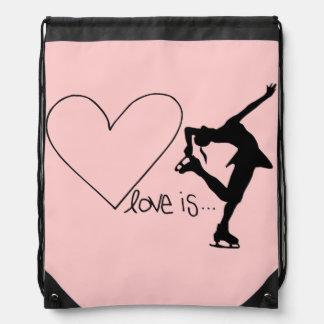 Love is Figure Skating, Heart, Backpack, Baby Pink Drawstring Backpacks