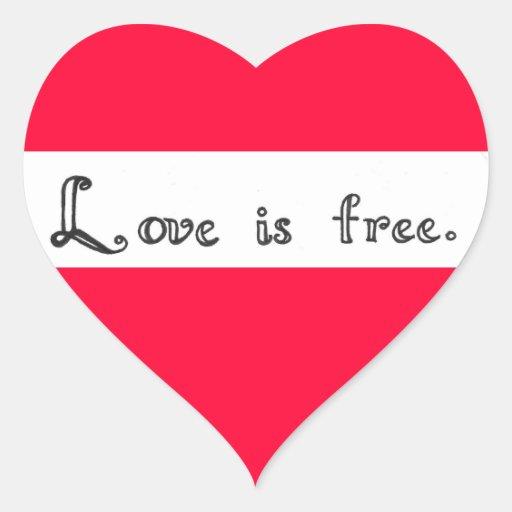 Love is free in calligraphy heart sticker zazzle
