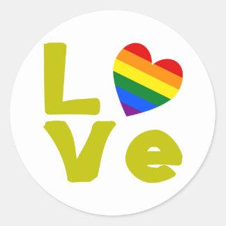 Love Is Gay Gold Round Sticker
