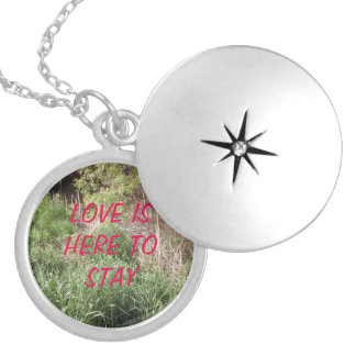 LOVE IS HERE TO STAY ROUND LOCKET NECKLACE