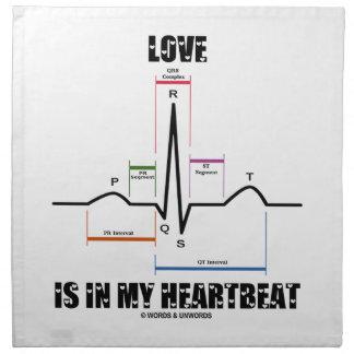 Love Is In My Heartbeat ECG EKG Electrocardiogram Printed Napkins
