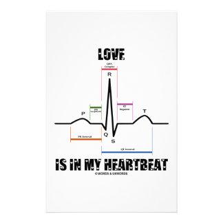Love Is In My Heartbeat ECG EKG Electrocardiogram Stationery Design