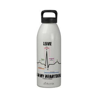 Love Is In My Heartbeat ECG EKG Electrocardiogram Reusable Water Bottle