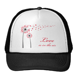Love is in the air, dandelion with red hearts cap