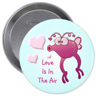 """Love Is In The Air"" Love Bug Pinback Buttons"