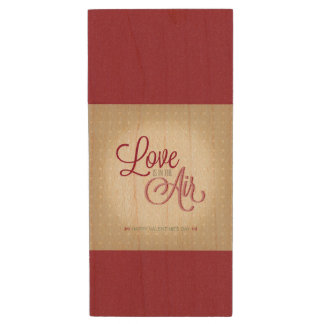 """love is in the air"" Valentines day retro design Wood USB 2.0 Flash Drive"