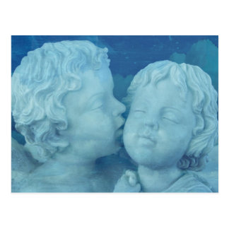 Love is in the Air, Vintage Stone Angels Kissing Postcard
