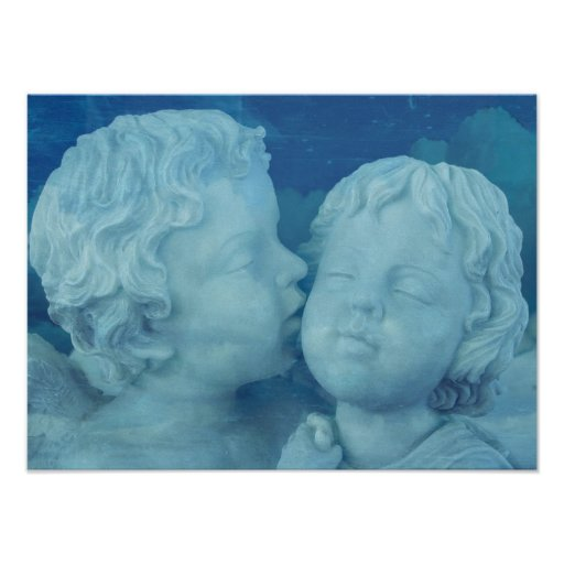 Love is in the Air, Vintage Stone Angels Kissing Posters