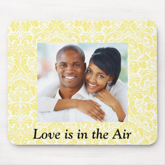 Love is in the Air yellow Damask Photo Mousepad