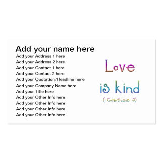 """Love is kind"" Business Card Template"