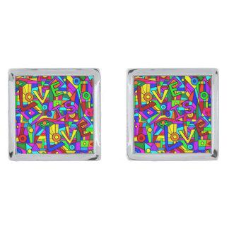 LOVE IS LOVE! (a multi-colored tile design) ~ Silver Finish Cuff Links