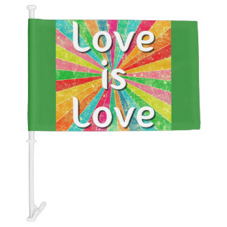 Love is Love Equality LGBT Human Rights Car Flag