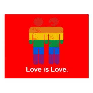 LOVE IS LOVE GAY COUPLE POSTCARD