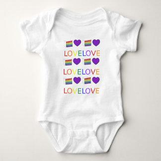 LOVE IS LOVE Gay Pride Rainbow Cake LGBT Heart Baby Bodysuit