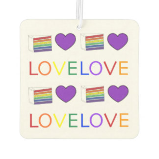 LOVE IS LOVE Gay Pride Rainbow Cake LGBT Heart Car Air Freshener